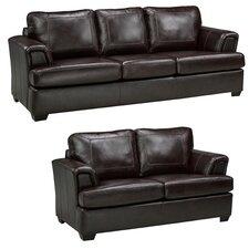 Royal Cranberry Italian Leather Sofa and Loveseat Set