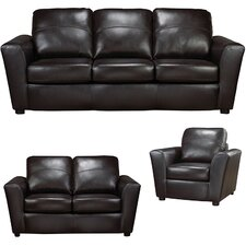 Delta Italian Leather Sofa, Loveseat and Chair Set