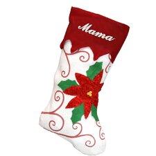 Personalized Poinsettia Christmas Stocking