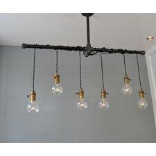 Brass 6 Light Cascade Pendant