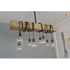 Wood Beam 8 Light Cascade Pendant