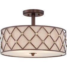 Brown Lattice 3 Light Semi-Flush Mount