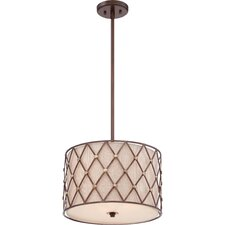 Brown Lattice 3 Light Drum Pendant