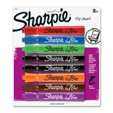 Flip Chart Marker, Bullet Point, Assorted, 8-Pack