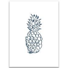 "10"" H x 8"" W Navy Blue Pineapple Wall Art Print"