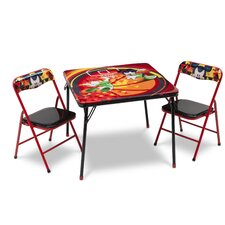 Mickey Folding Children 3 Piece Square Table and Chair Set