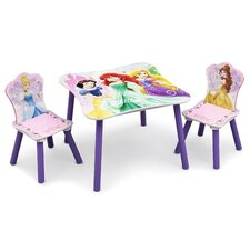 Princess Children 3 Piece Square Table and Chair Set