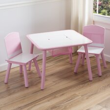 Children 3 Piece Square Table and Chair Set