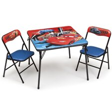 Cars Folding Children 3 Piece Square Table and Chair Set