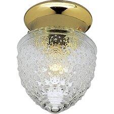 Polished Brass Acorn Single Light Flush Mount