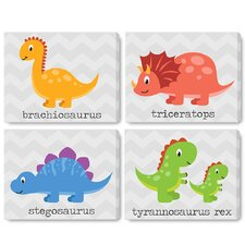 4 Piece Kids Cute Dinosaurs on Wrapped Canvas Art Set