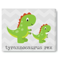 Kids Cute Dinosaur Green on Wrapped Canvas Art