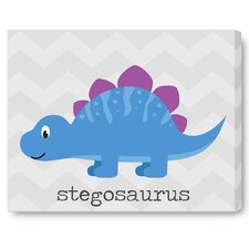 Kids Cute Dinosaur Blue on Wrapped Canvas Art