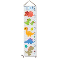 Personalized Kids Gift Cute Dinosaurs Canvas Growth Chart