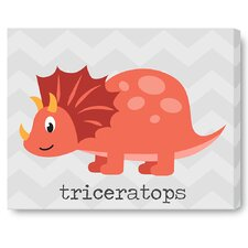 Kids Cute Dinosaur Red on Wrapped Canvas Art