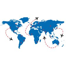 World Travel Flight Map Wall Decal