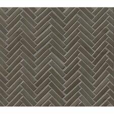 """Herringbone Mosaic 11"""" x 12.25"""" Porcelain Tile in Gun Metal"""