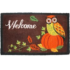 Owl Welcome with Pumpkin Doormat