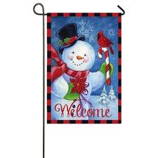 Happy Snowman Garden Flag