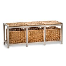 Country Farmhouse Storage with Wicker Pad Hallway Bench