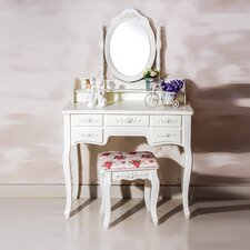 Cleopatra 7 Drawer Vanity Set with Mirror