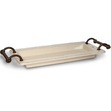 Provincial Ceramic Tray with Metal Handles