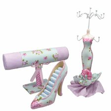 3 Piece Fabric Covered Jewelry Display Set