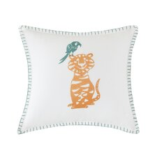 Henry Embroidered Square Cotton Throw Pillow