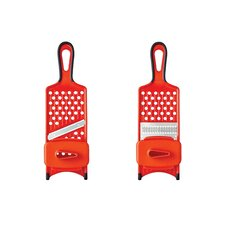 Hand-Held Straight-Blade and Julienne-Blade Fruit Vegetable Mandoline/Slicer/Shredder/Grater with Safety Hand Guard