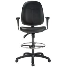 Height Adjustable Leather Drafting Chair