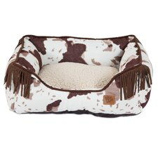 Lambswool Corner Fringe Printed Lounger Bolster Dog Bed
