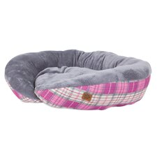 Plush Printed Lounger Bolster Dog Bed
