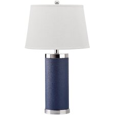 "Leather Column 26"" H Table Lamp with Empire Shade (Set of 2)"