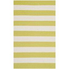 Montauk Green & White Striped Contemporary Area Rug