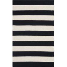 Montauk Black & White Striped Contemporary Area Rug