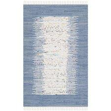 Montauk Ivory & Dark Blue Contemporary Area Rug