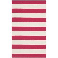 Montauk Red & White Striped Contemporary Area Rug