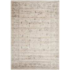 Vintage Light Grey/Ivory Floral Area Rug