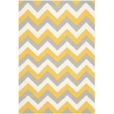 Dhurries Gold / Grey Chevron Area Rug