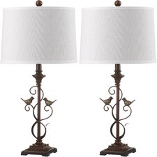 """Birdsong 28"""" H Table Lamp with Drum Shade (Set of 2)"""