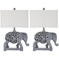 "Hathi Sculpture 25.5"" H Table Lamp with Rectangular Shade (Set of 2)"