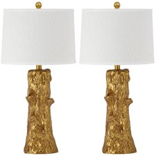 """Arcadia Fauz Bois 28.5"""" H Table Lamp with Empire Shade (Set of 2)"""