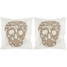 Punk Skull Cotton Throw Pillow (Set of 2)