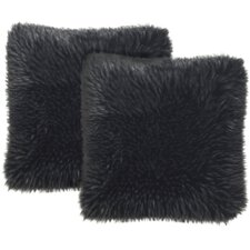 Faux Fur Grizzly Suede Throw Pillow (Set of 2)