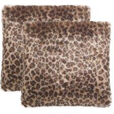 Faux Fur Leopard Print Suede Throw Pillow (Set of 2)