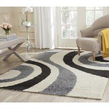 Shag Ivory & Grey Contemporary Area Rug