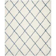 Moroccan Shag Ivory & Blue Geometric Contemporary Area Rug