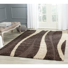 Florida Shag Dark Brown/Beige Area Rug