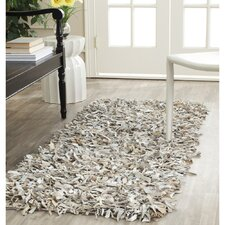 Leather Shag White Area Rug