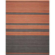 Kilim Dark Grey / Orange Striped Rug